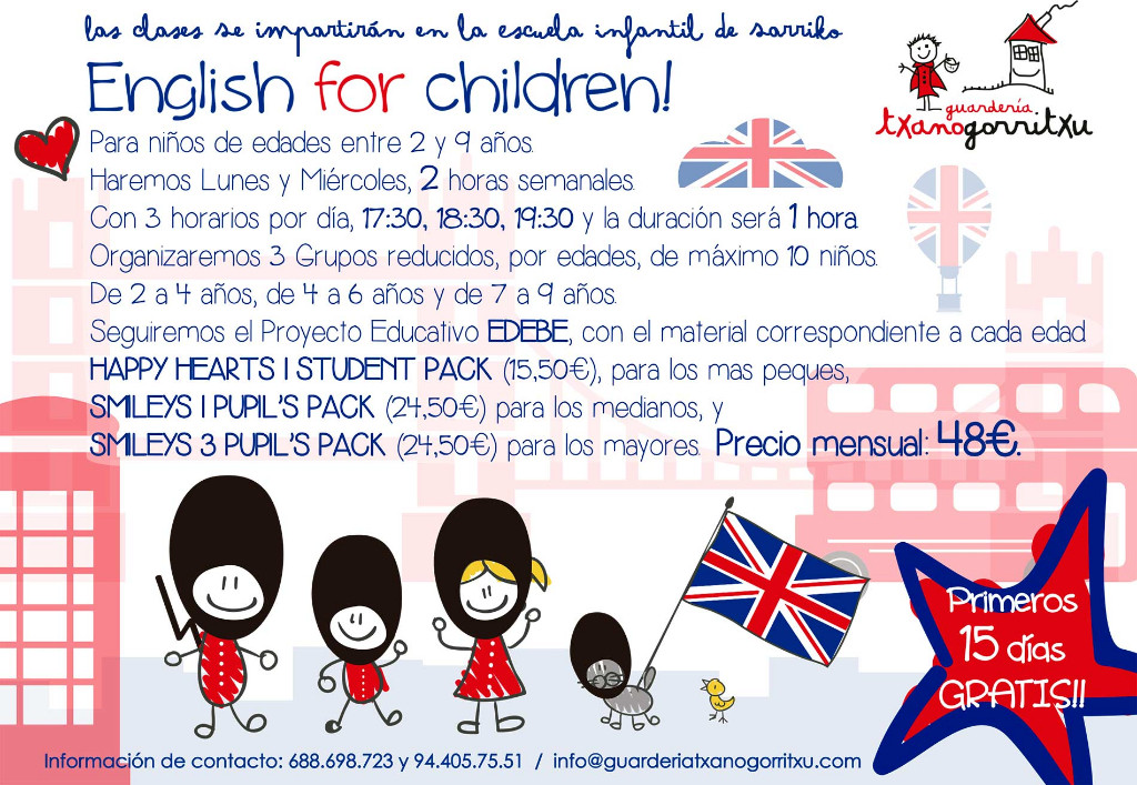 English classes in nursery txanogorritxu sarriko